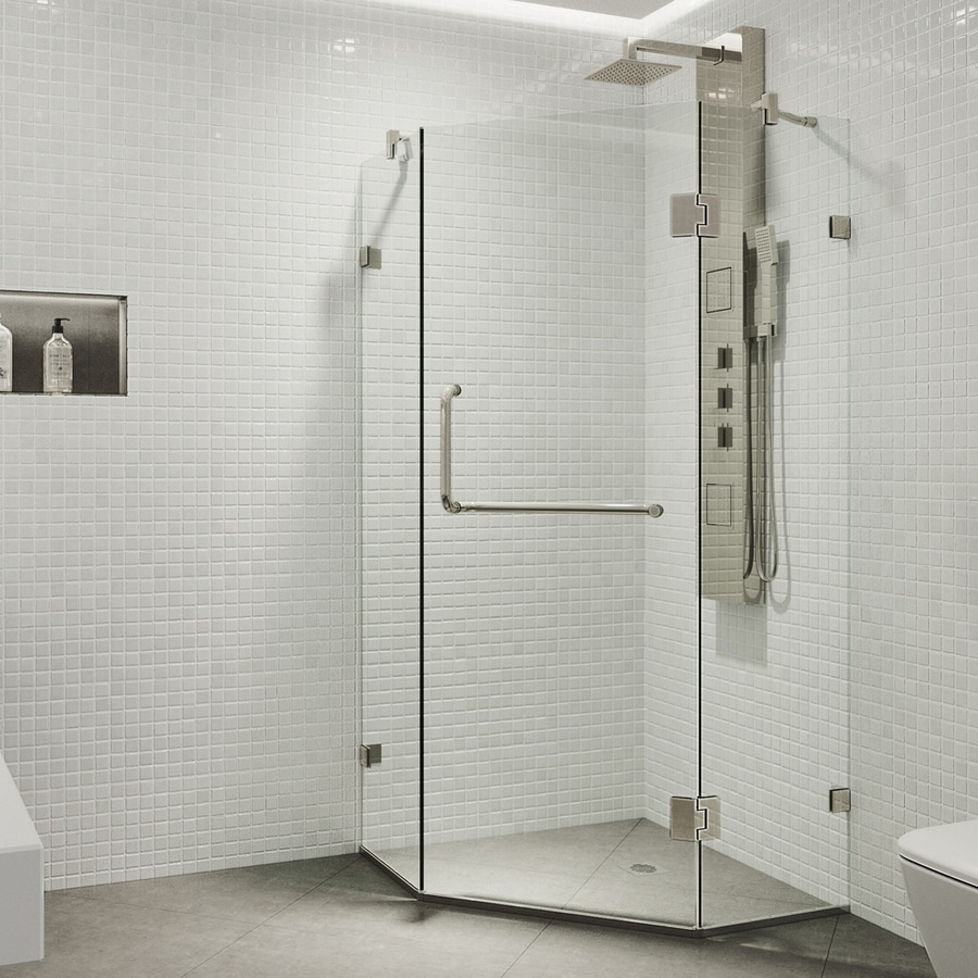 VIGO Piedmont 34.125-in W x 73-3/8-in H Brushed Nickel Frameless Neo-Angle Shower Door