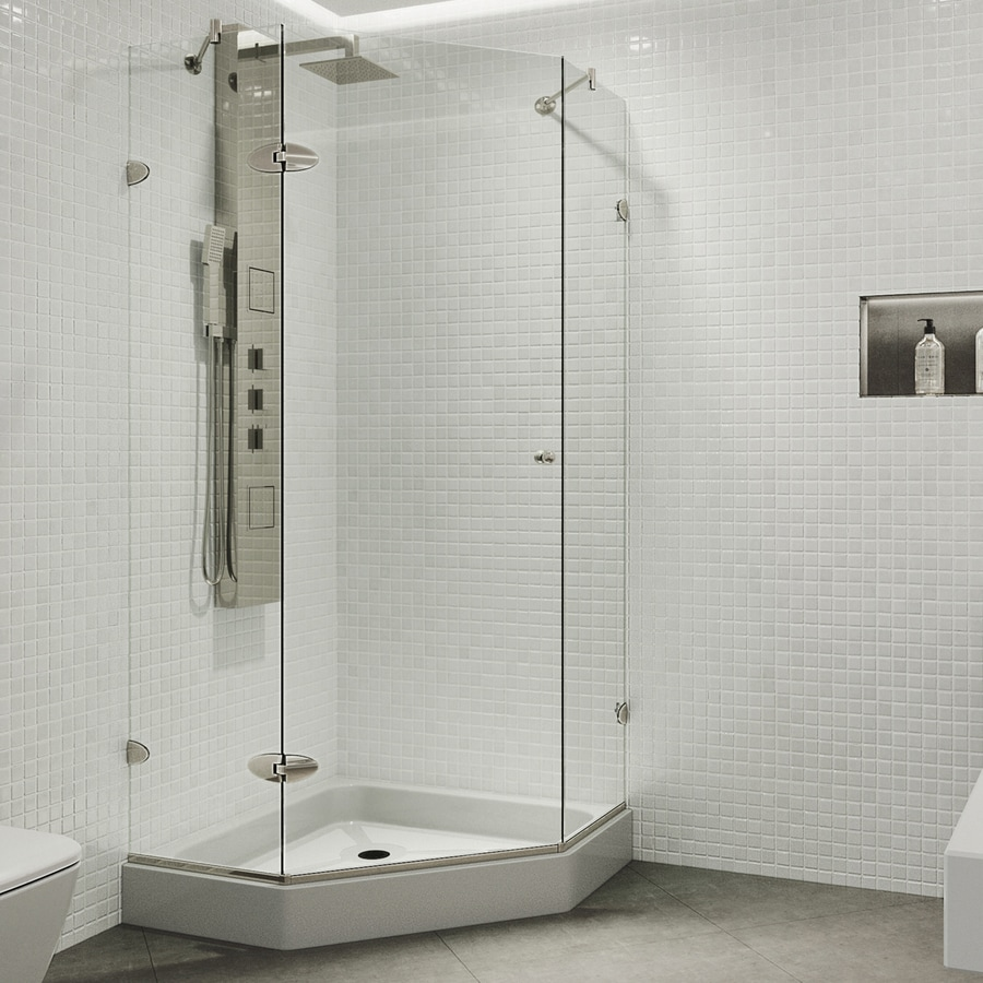 VIGO Verona Frameless Brushed Nickel Shower Door