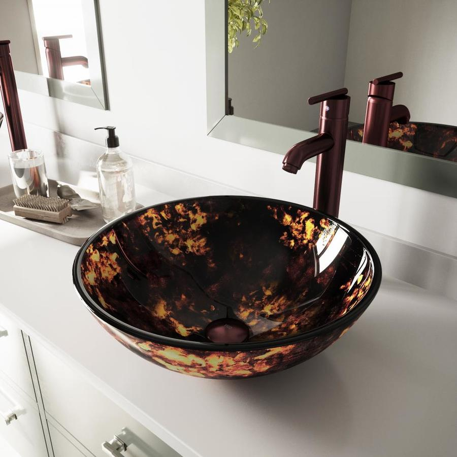 VIGO Brown and Gold Fusion Glass Vessel Round Bathroom Sink
