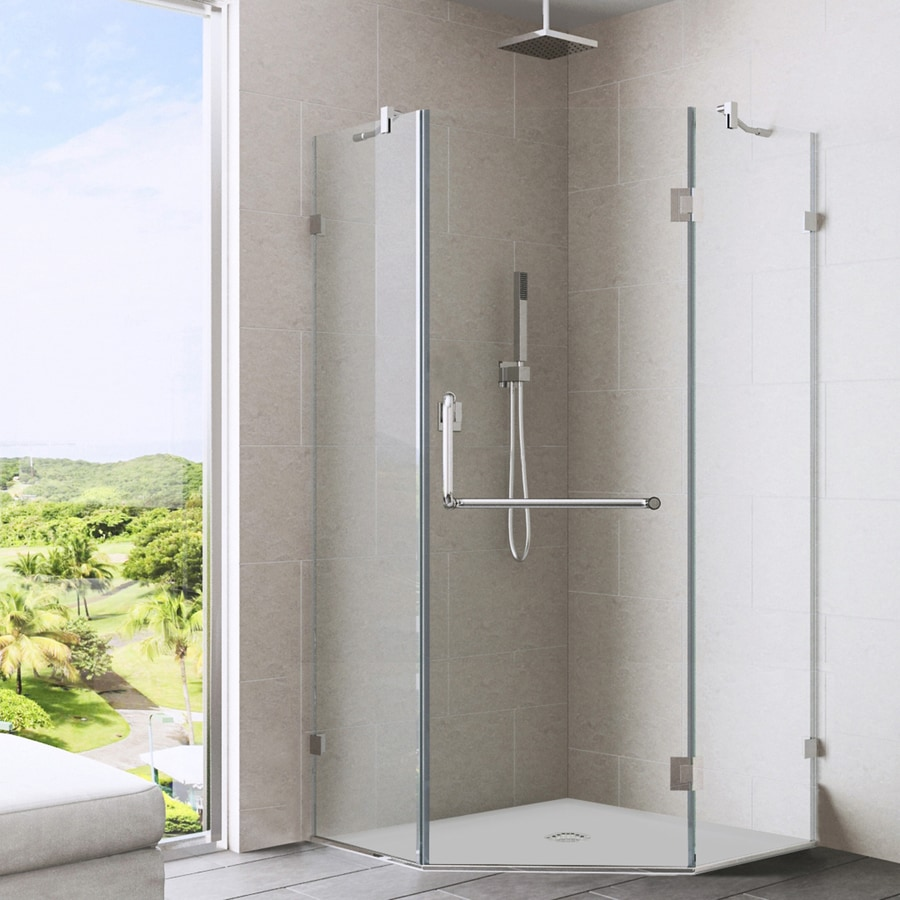 VIGO Piedmont 36-in to 36-in Frameless Brushed Nickel Hinged Shower Door