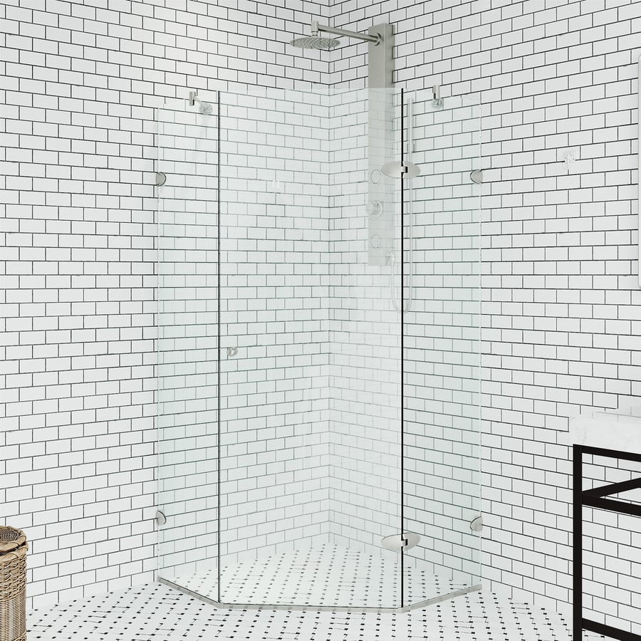 VIGO Verona 36.125-in W x 73-3/8-in H Brushed Nickel Frameless Neo-Angle Shower Door