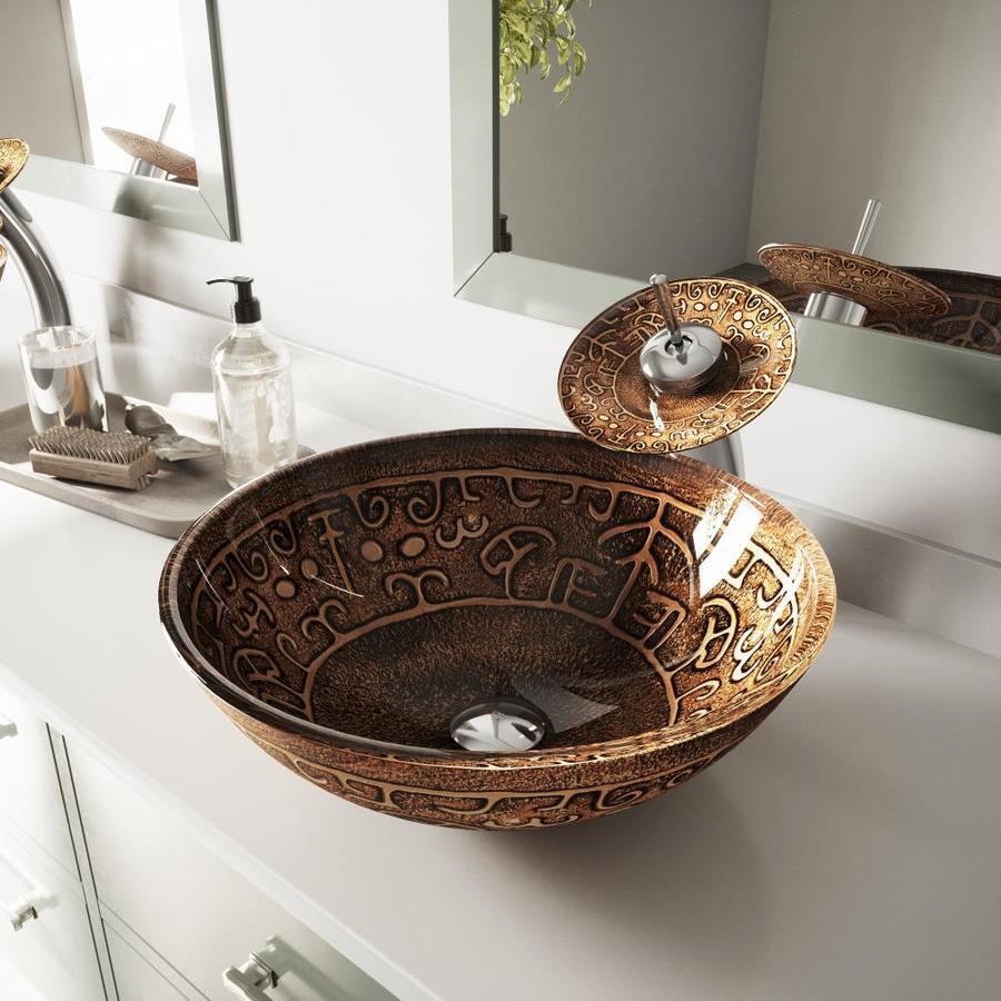 VIGO Golden Greek Glass Vessel Round Bathroom Sink