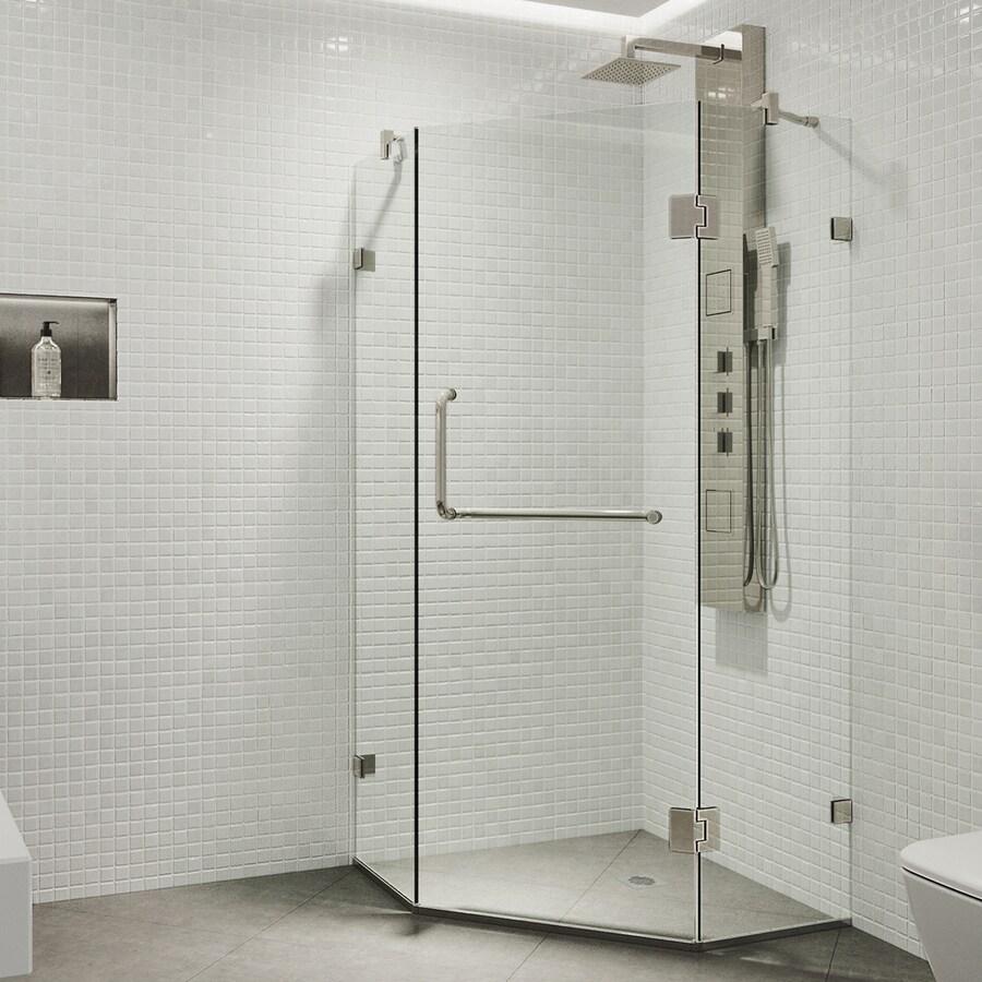 VIGO Piedmont Frameless Brushed Nickel Shower Door