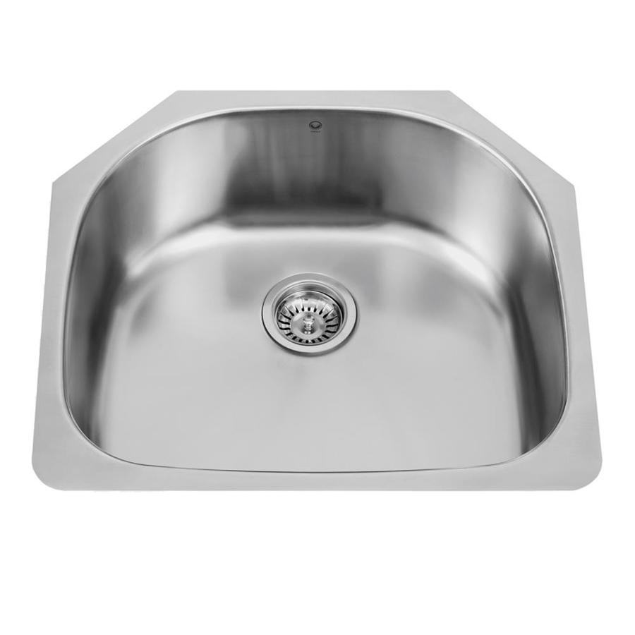 VIGO 23.5-in x 21.0-in Premium Satin Single-Basin Stainless Steel Undermount Commercial/Residential Kitchen Sink