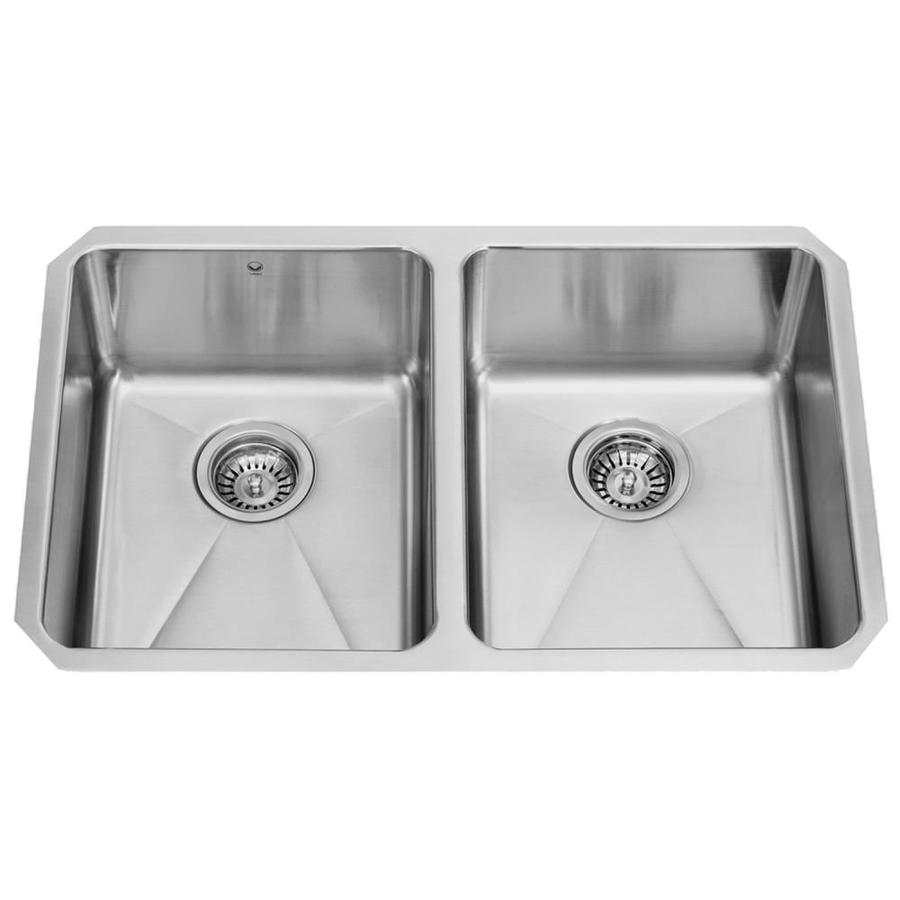 VIGO 29.25-in x 18.5-in Stainless Steel Double-Basin Stainless Steel Undermount Commercial/Residential Kitchen Sink