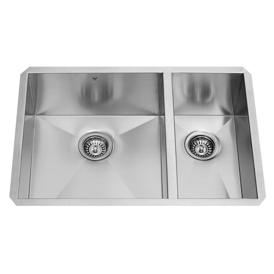 VIGO 29.0-in x 20.0-in Premium Satin Single-Basin-Basin Stainless Steel Undermount (Customizable)-Hole Commercial/Residential Kitchen Sink