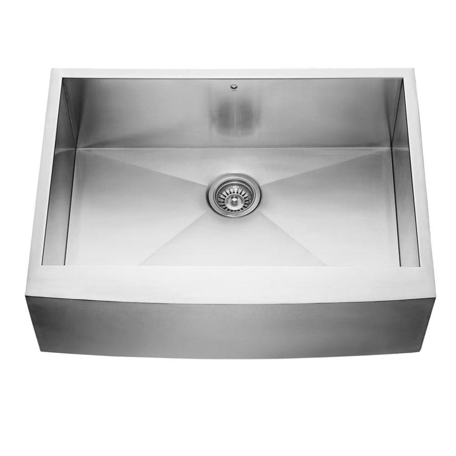 VIGO 30.0-in x 22.25-in Single-Basin Stainless Steel Apron Front/Farmhouse Commercial/Residential Kitchen Sink