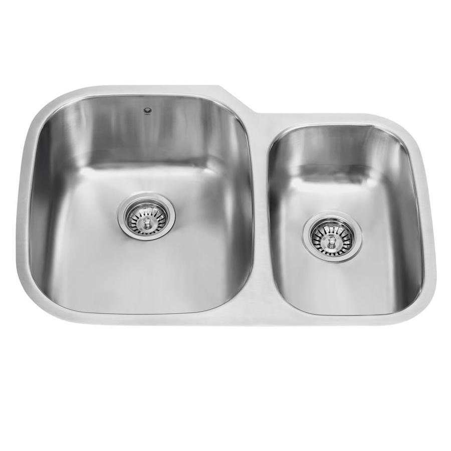 VIGO 29.5-in x 20.75-in Premium Satin Double-Basin Stainless Steel Undermount Commercial/Residential Kitchen Sink