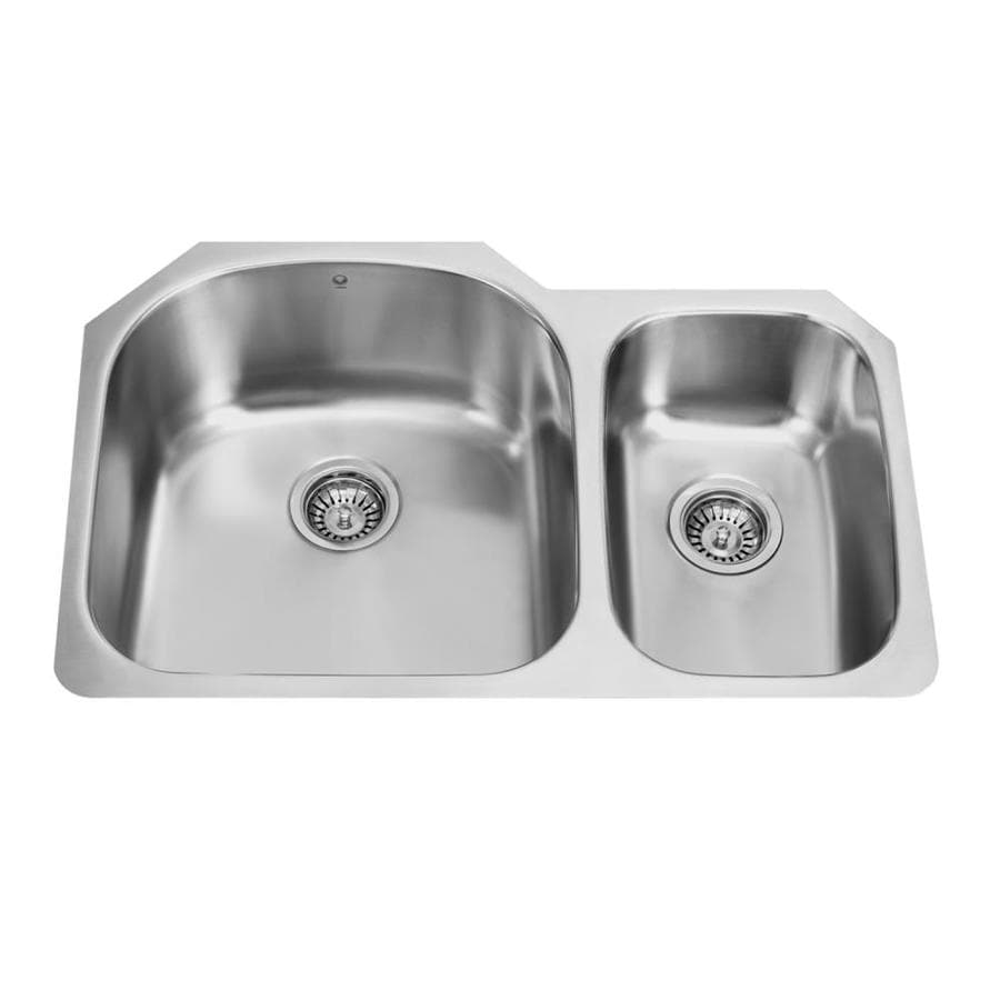VIGO 31.5-in x 20.5-in Stainless Steel Double-Basin Stainless Steel Undermount Commercial/Residential Kitchen Sink