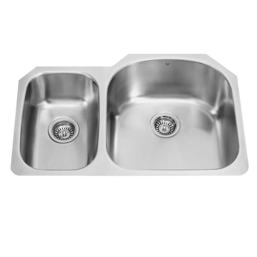 VIGO 31.5-in x 20.5-in Premium Satin Double-Basin Stainless Steel Undermount Commercial/Residential Kitchen Sink