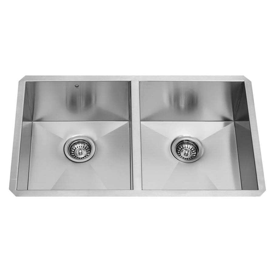 VIGO 32.0-in x 19.0-in Premium Satin Double-Basin Stainless Steel Undermount Commercial/Residential Kitchen Sink