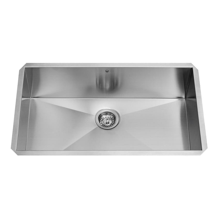 VIGO 32.0-in x 19.0-in Premium Satin Single-Basin-Basin Stainless Steel Undermount (Customizable)-Hole Commercial/Residential Kitchen Sink