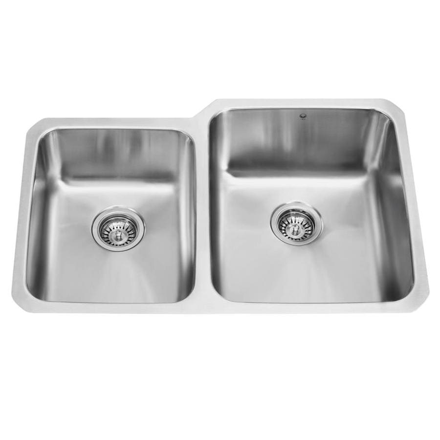 VIGO 32-in x 20.75-in Stainless Steel Double-Basin Stainless Steel Undermount Commercial/Residential Kitchen Sink