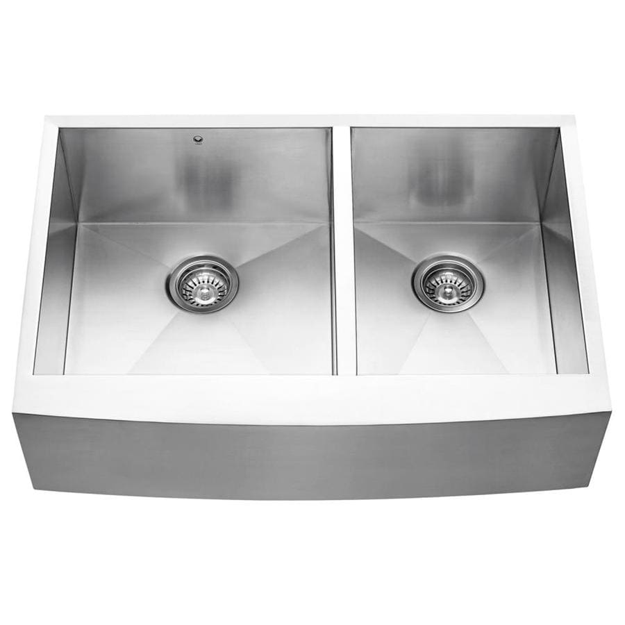 VIGO 33-in x 22.25-in Stainless Steel Double-Basin Stainless Steel Apron Front/Farmhouse Commercial/Residential Kitchen Sink