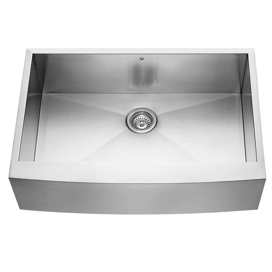 VIGO 33.0-in x 22.25-in Single-Basin Stainless Steel Apron Front/Farmhouse Commercial/Residential Kitchen Sink