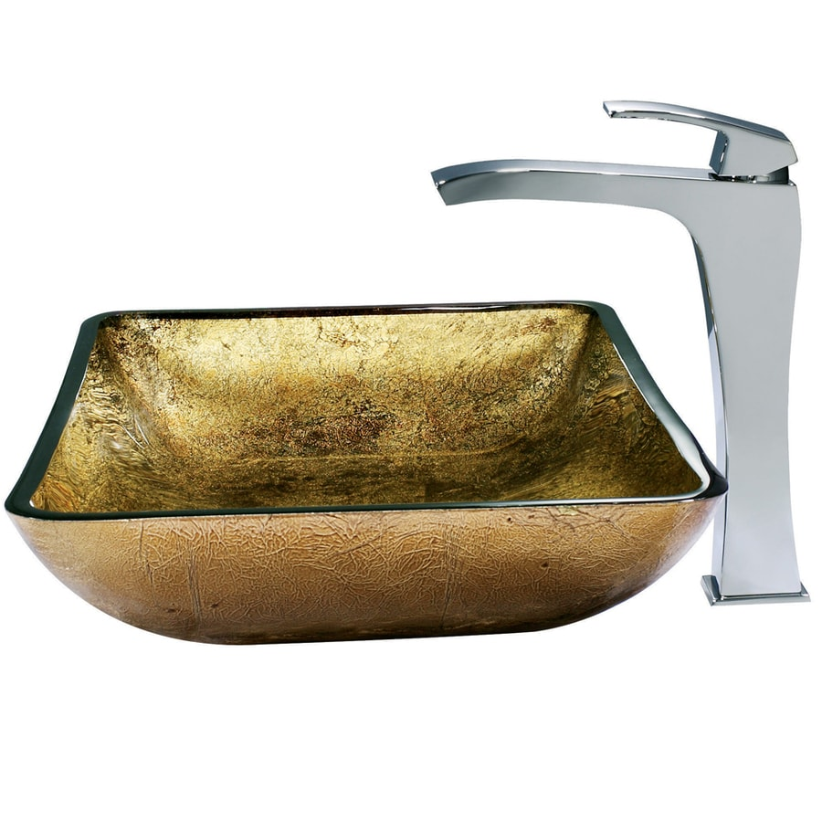 VIGO Glass Sink Cooper Glass Vessel Bathroom Sink with Faucet (Drain Included)
