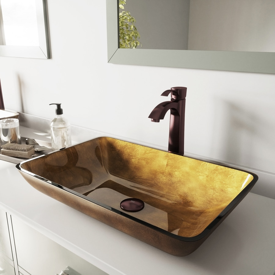 Shop Vigo Glass Sink Cooper Glass Vessel Bathroom Sink With Faucet Drain Included At