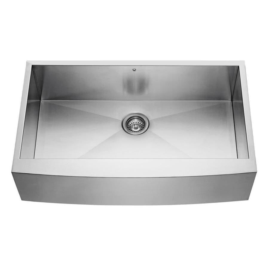 VIGO 36.0-in x 22.25-in Stainless Steel Single-Basin-Basin Stainless Steel Apron Front/Farmhouse (Customizable)-Hole Commercial/Residential Kitchen Sink
