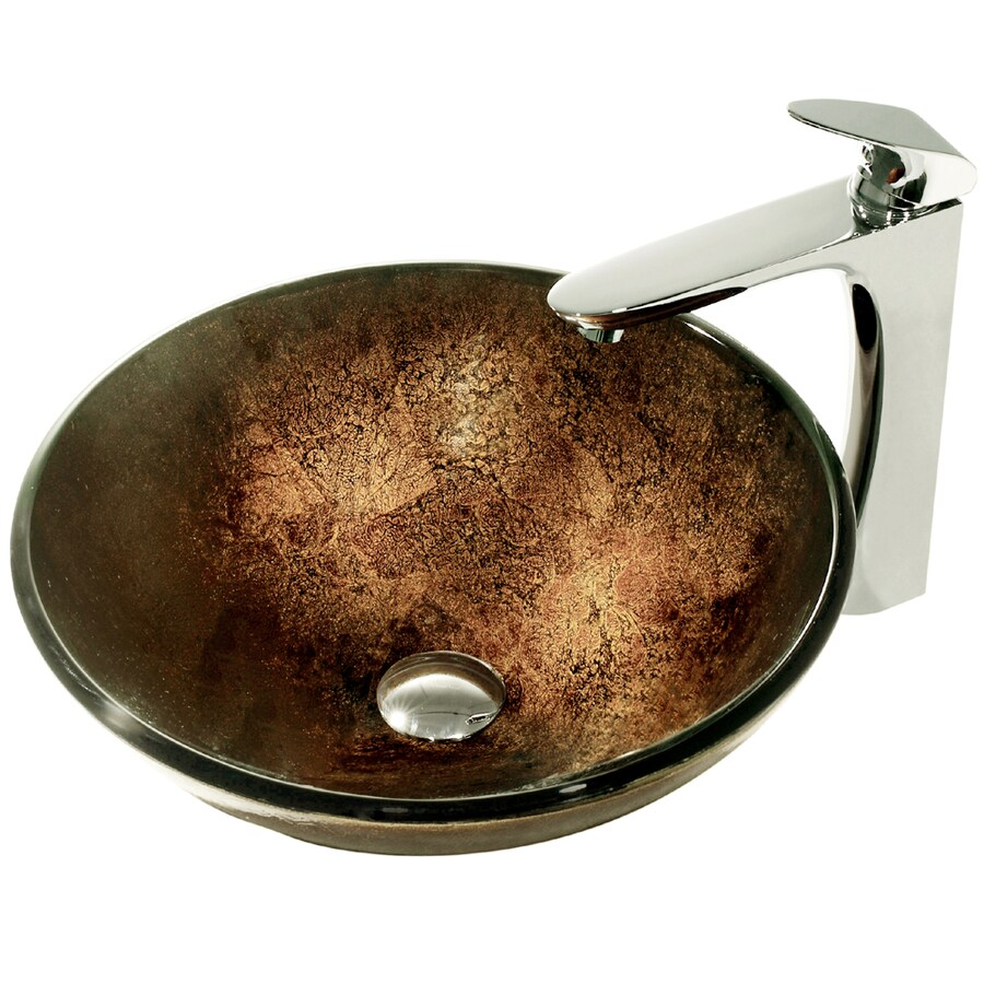 VIGO Glass Sink Browns/Golds Glass Vessel Bathroom Sink with Faucet (Drain Included)
