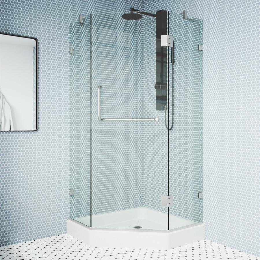 VIGO Piedmont 40-in to 40-in Frameless Brushed Nickel Hinged Shower Door