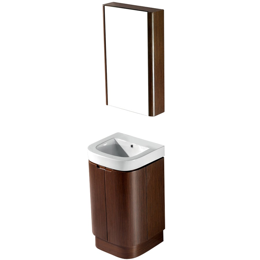 VIGO Wenge 20-in Integral Single Sink Bathroom Vanity with Vitreous China Top