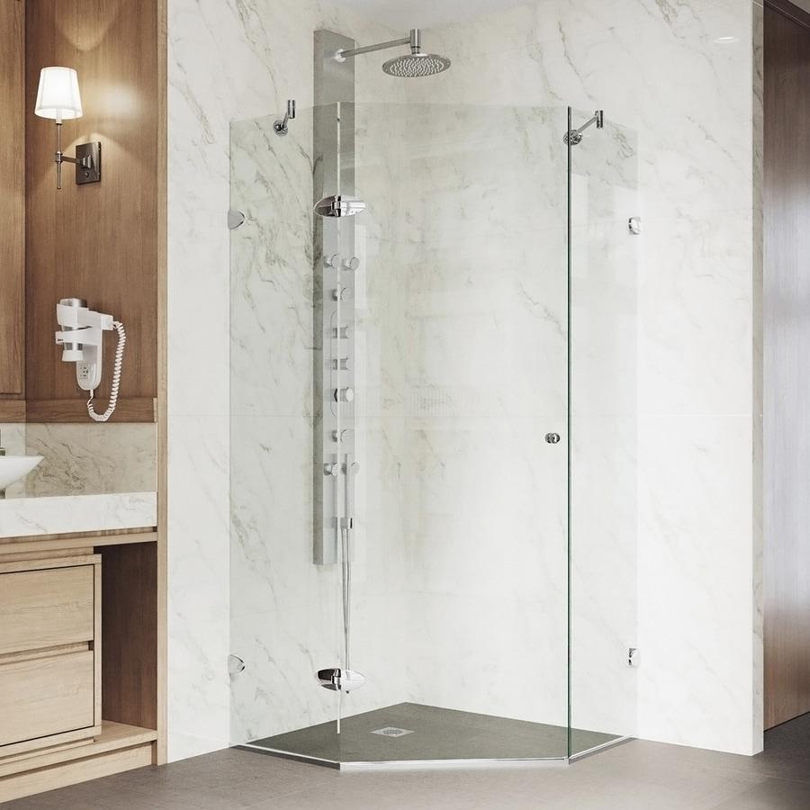VIGO Verona 34.125-in W x 73-3/8-in H Chrome Frameless Neo-Angle Shower Door