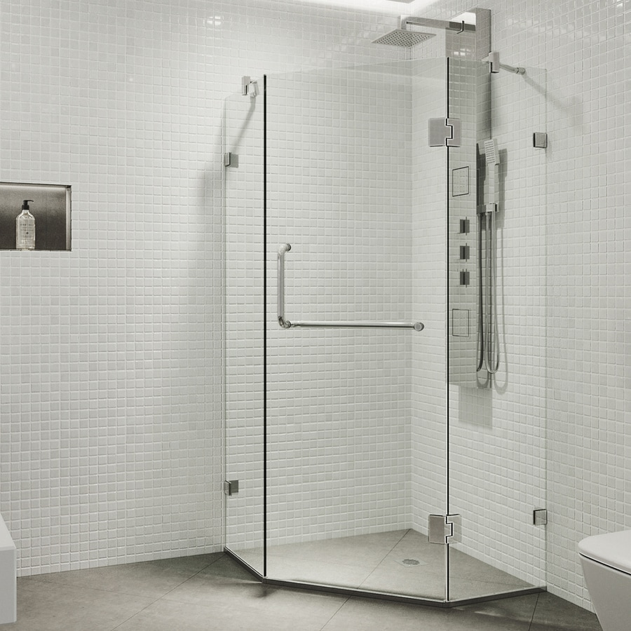 VIGO Piedmont 34-in to 34-in Frameless Chrome Hinged Shower Door
