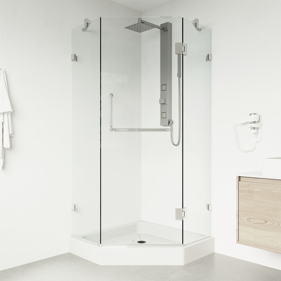 VIGO Piedmont 36-in W x 78-3/4-in H Chrome Frameless Neo-Angle Shower Door