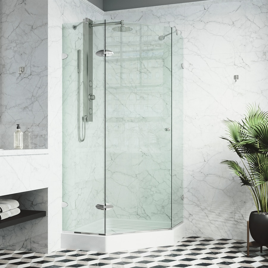 VIGO Verona 40-in to 40-in Frameless Chrome Hinged Shower Door