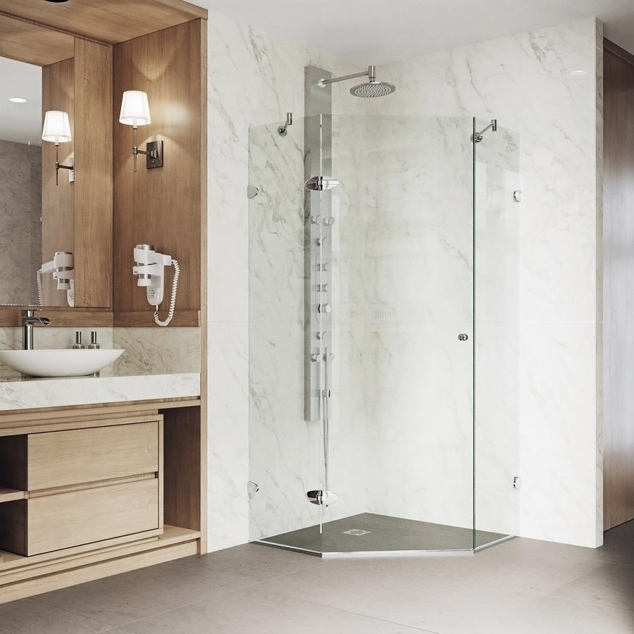VIGO Verona 40-in to 40-in Frameless Chrome Hinged Shower Door