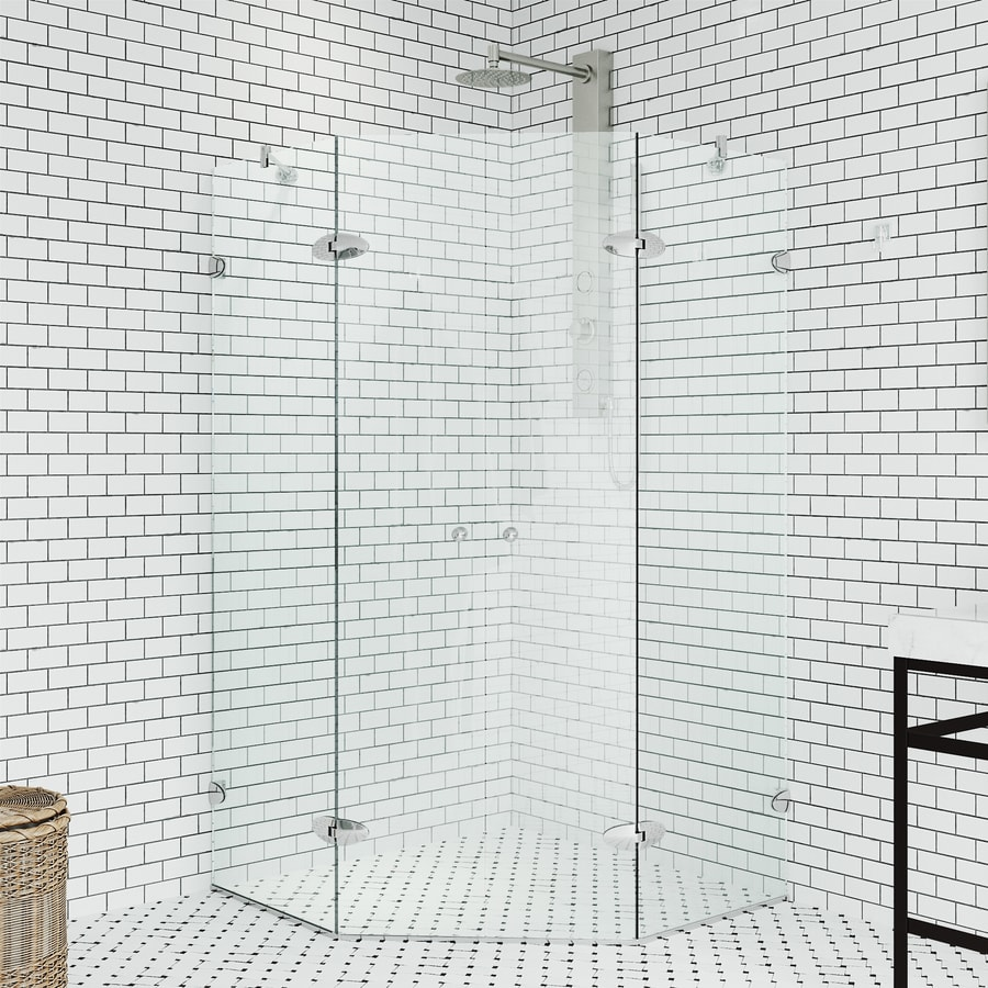 Shop Vigo Gemini 40 In W Chrome Hinged Shower Door At Lowes