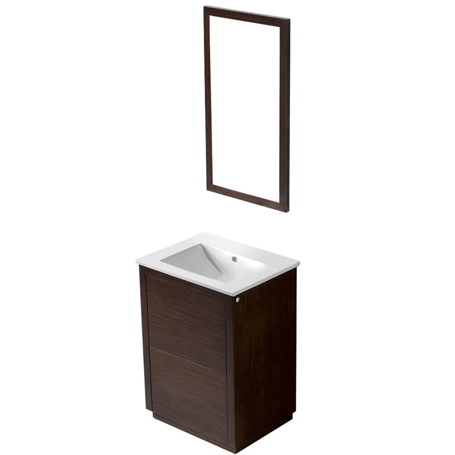 VIGO Wenge Integrated Single Sink Bathroom Vanity with Vitreous China Top (Common: 24-in x 18-in; Actual: 24-in x 18.5-in)