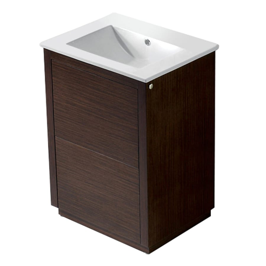 VIGO Wenge 24-in Integral Single Sink Bathroom Vanity with Vitreous China Top