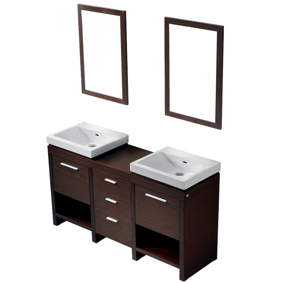 Vigo Wenge Integral Double Sink Bathroom Vanity With Vitreous China Top Common 59 In X 17 In Actual 59 5 In X 17 75 In In The Bathroom Vanities With Tops Department At Lowes Com