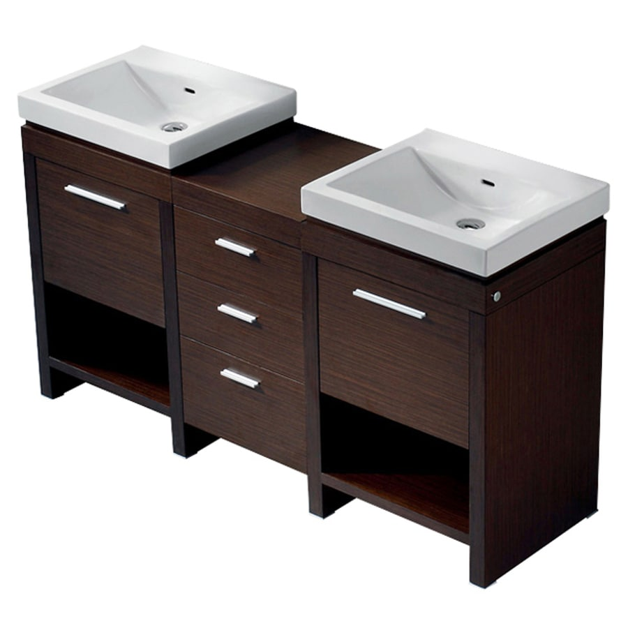VIGO Wenge Integrated Double Sink Bathroom Vanity with Vitreous China Top (Common: 59-in x 17-in; Actual: 59.5-in x 17.75-in)