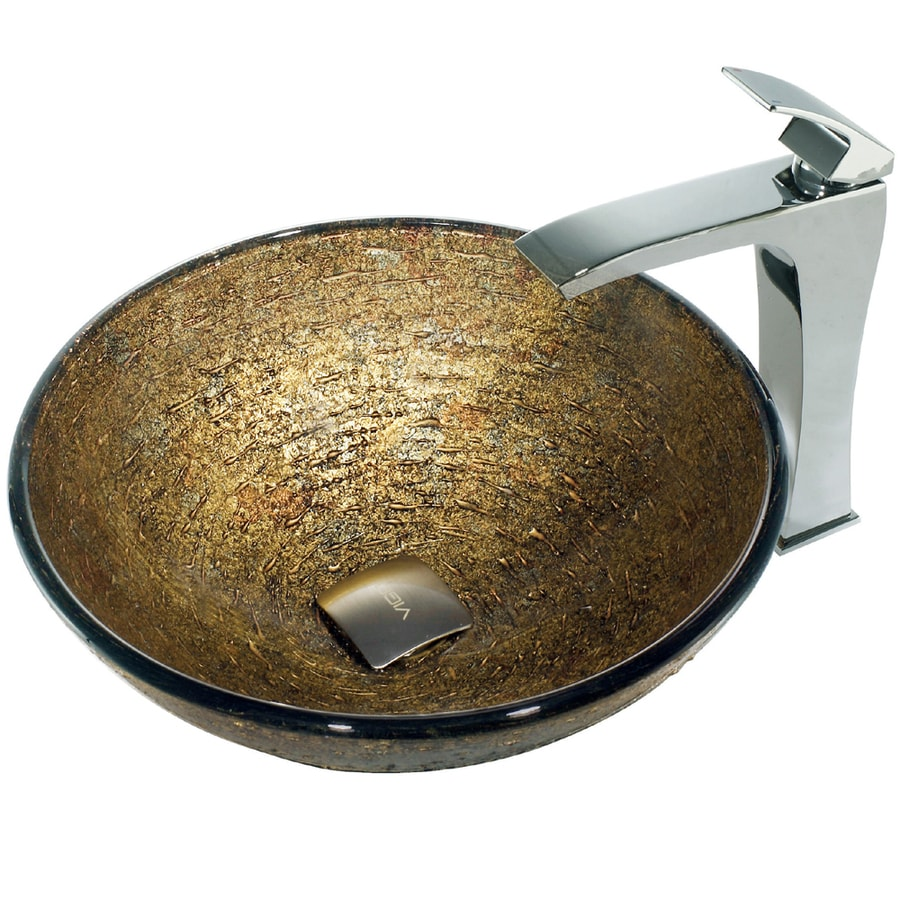 VIGO Glass Sink Brown Glass Vessel Bathroom Sink with Faucet (Drain Included)