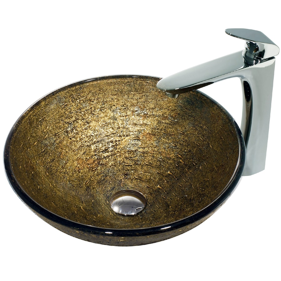 Brown Bathroom Sink : VIGO Glass Sink Brown Glass Vessel Bathroom Sink with Faucet (Drain ...