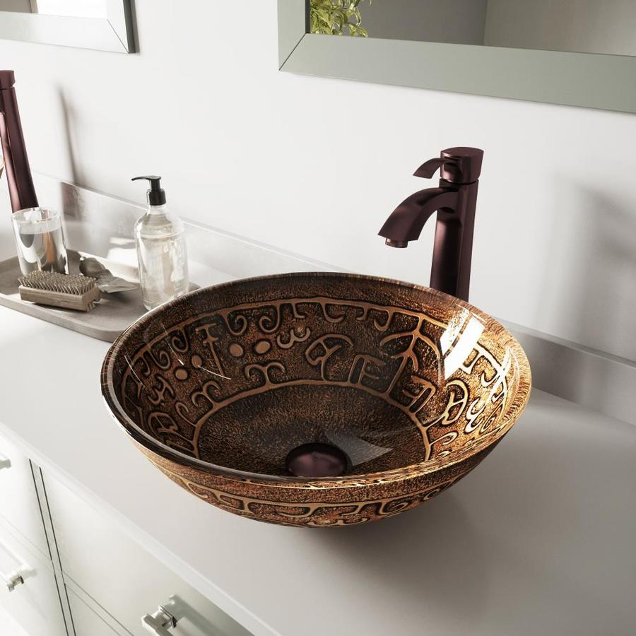 VIGO Glass Sink Browns Glass Vessel Bathroom Sink with Faucet (Drain Included)
