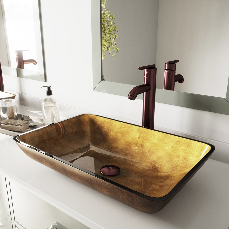 VIGO Copper Glass Vessel Rectangular Bathroom Sink