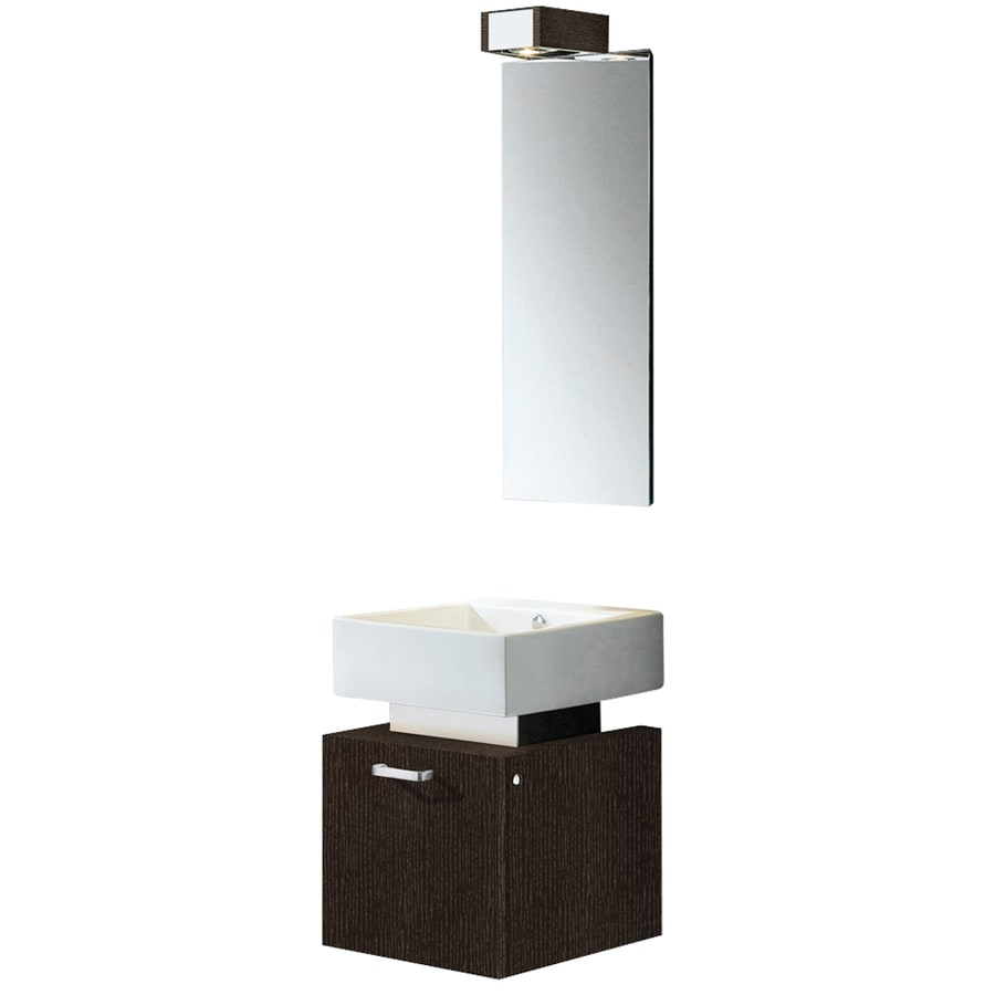 VIGO Wenge Integrated Single Sink Bathroom Vanity with Vitreous China Top (Common: 18-in x 20-in; Actual: 18.375-in x 18.375-in)