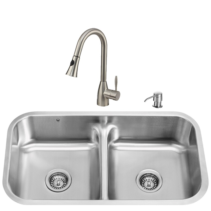 VIGO 32-in x 18-in Matte/Brushed Steel-Stainless Double-Basin Stainless Steel Undermount Commercial/Residential Kitchen Sink All-In-One Kit