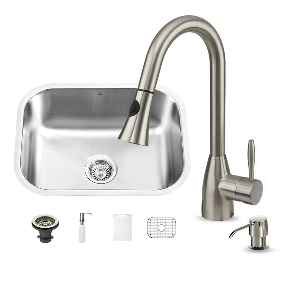 VIGO 23-in x 17-in Matte/Brushed Steel-Stainless Single-Basin Undermount Commercial/Residential Kitchen Sink All-In-One Kit