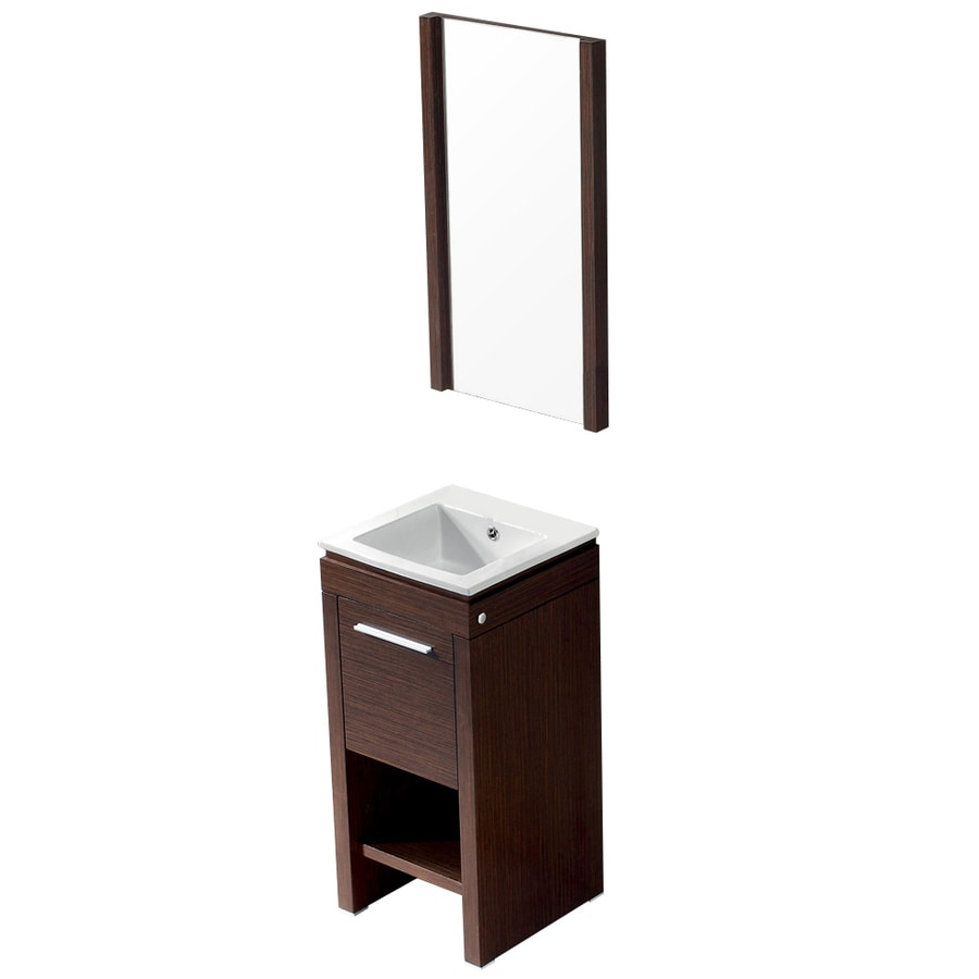 VIGO Wenge Integrated Single Sink Bathroom Vanity with Vitreous China Top (Common: 16-in x 16-in; Actual: 16.125-in x 16.25-in)
