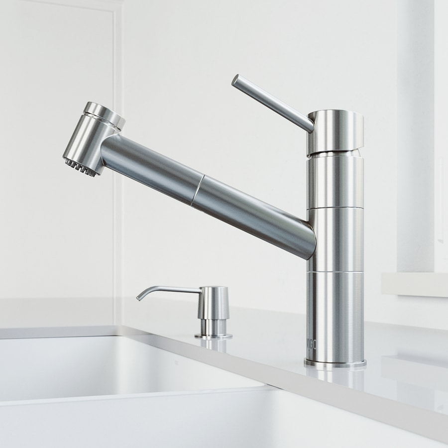 VIGO Branson Stainless Steel 1-Handle Deck Mount Pull-Out Kitchen Faucet