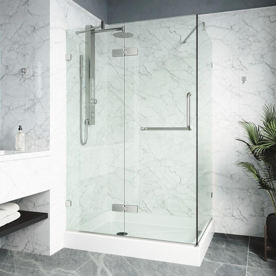 VIGO Monteray 48-in to 48-in Frameless Frameless Hinged Shower Door