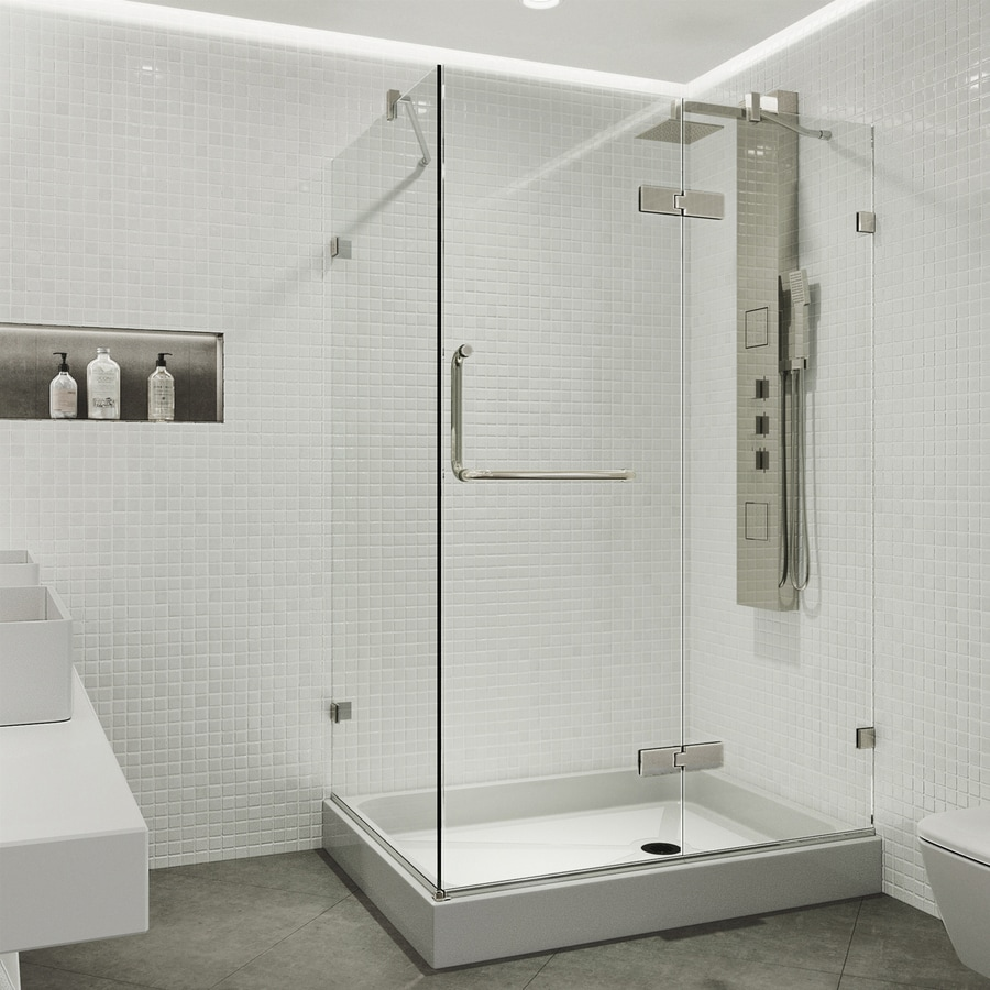 VIGO Monteray 48-in to 48-in Frameless Hinged Shower Door