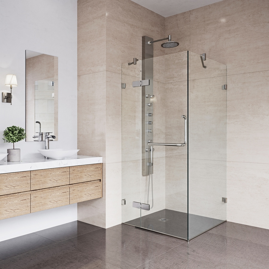 VIGO Monteray 46-in Frameless Brushed Nickel Hinged Shower Door