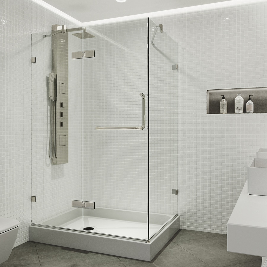 VIGO Monteray 48-in to 48-in Frameless Hinged Shower Door