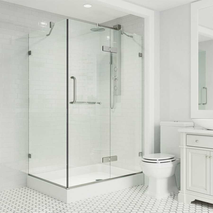 VIGO Monteray 48-in to 48-in Frameless Frameless Hinged Shower Door