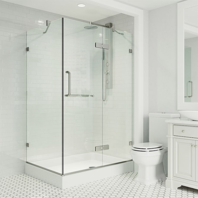Vigo Monteray 78 75 In H X 36 125 In W Frameless Hinged Brushed Nickel Shower Door Clear Glass In The Shower Doors Department At Lowes Com